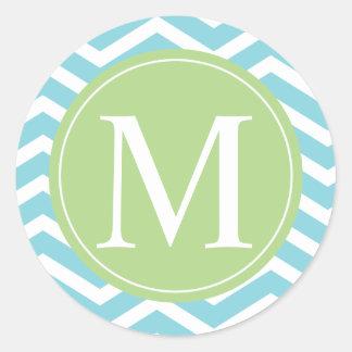 Blue Chevron Green Monogram Classic Round Sticker