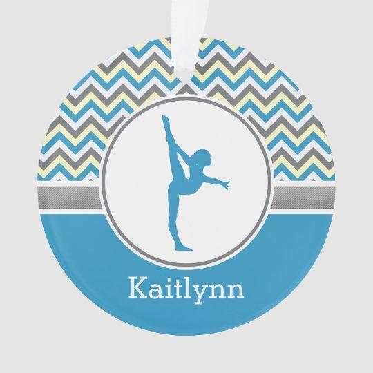 Blue Chevron Gymnast Personalized w/ Monogram