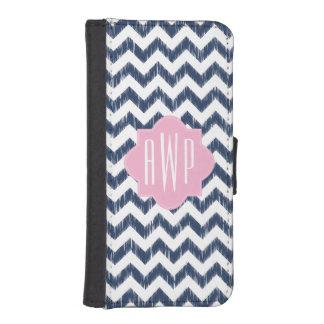 Blue Chevron Ikat Monogram iPhone 5/5S Wallet Case iPhone 5 Wallet