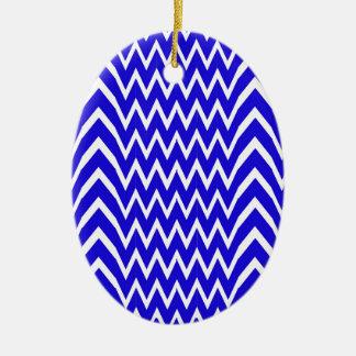 Blue Chevron Illusion Ceramic Ornament