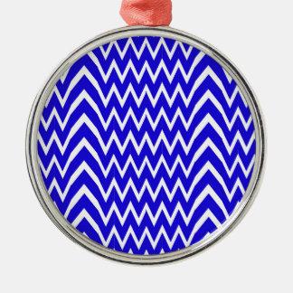 Blue Chevron Illusion Metal Ornament