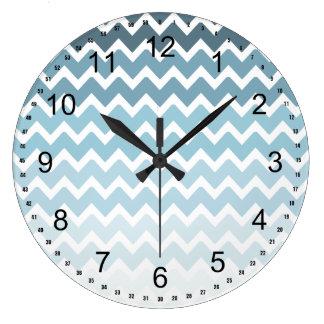 Blue Chevron Ombre Large Clock