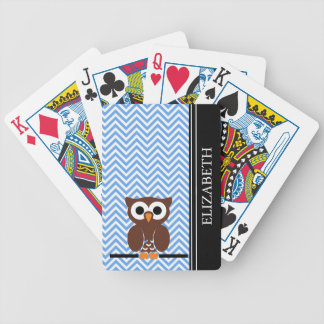 Blue Chevron Owl Monogram Name Custom Bicycle Playing Cards
