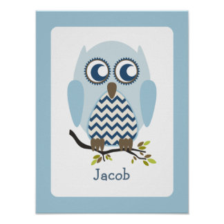 Blue + Chevron Owl Personalized Nursery Artwork Poster