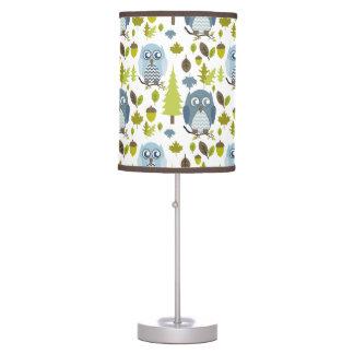 Blue Chevron Owls Lamp