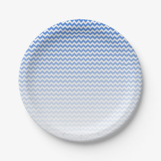 Blue Chevron Paper Plate