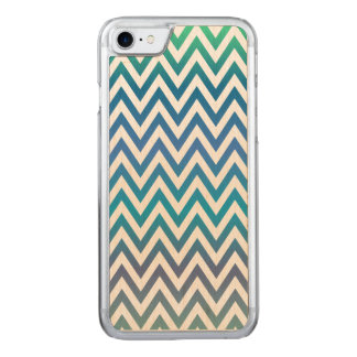 Blue chevron pattern carved iPhone 7 case