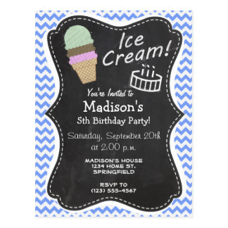 Blue Chevron Pattern; Ice Cream Cone Postcard