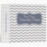 Blue Chevron Personalized Home Management Binder