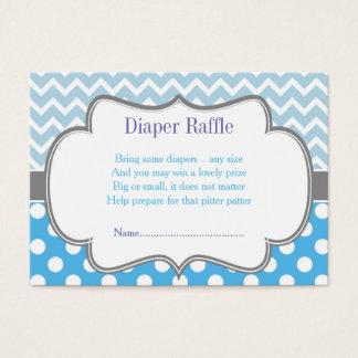 Blue Chevron & Polka Dot Diaper Raffle Business Card