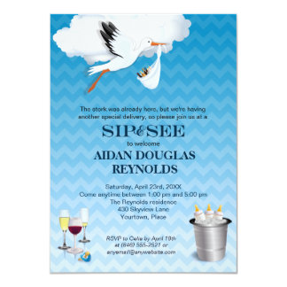 Blue Chevron Stork Baby Sip and See Party Card