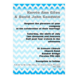 Blue Chevron Wedding Invitations - Bright Blue