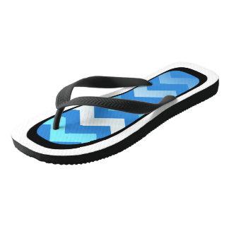 Blue Chevron White/Black Trim Flip Flops