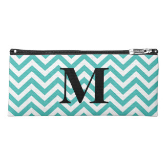 Blue Chevron with Monogram Pencil Case
