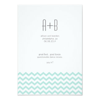 "Blue Chevron You In? Save the Date 5"" X 7"" Invitation Card"