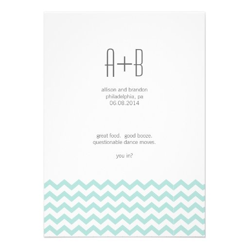 Blue Chevron You In? Save the Date Personalized Invitation