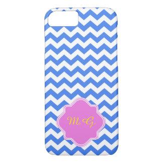 Blue Chevron Zigzag Pattern iPhone 7 Case