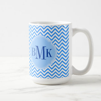 Blue Chevron Zigzag Pattern Monogram Personalized Coffee Mug