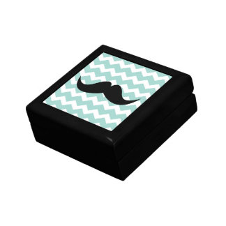 Blue chevron zigzag pattern trinket mustache trinket box
