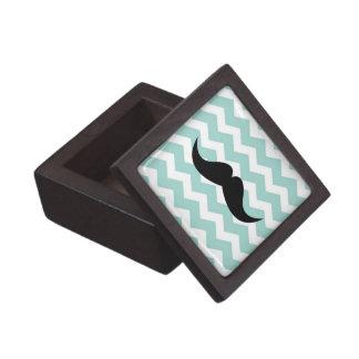 Blue chevron zigzag pattern trinket mustache premium gift box