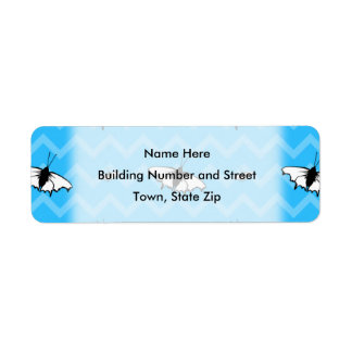 Blue Chevrons and Butterfly Pattern. Custom Return Address Labels
