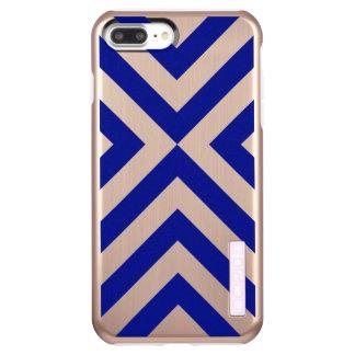 Blue Chevrons on Faux Rose Gold Finish Incipio DualPro Shine iPhone 8 Plus/7 Plus Case