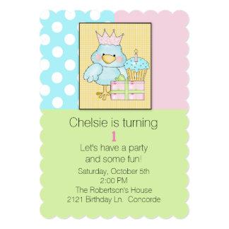 Blue Chic Babys First Birthday Invitation
