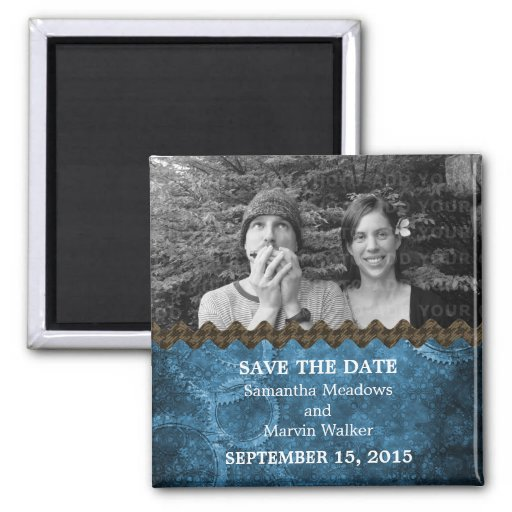 Blue Chic Steampunk Photo Save the Date Magnet