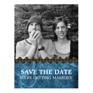 Blue Chic Steampunk Photo Save the Date Postcard
