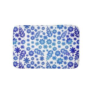 Blue China Hand Drawn Floral Pattern Bath Mat