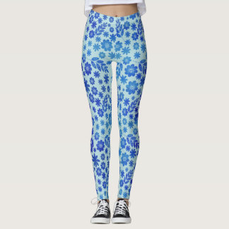 Blue China Hand Drawn Floral Pattern Leggings