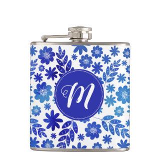 Blue China Hand Drawn Floral Pattern & Monogram Hip Flask