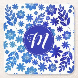 Blue China Hand Drawn Floral Pattern & Monogram Square Paper Coaster