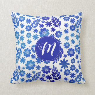 Blue China Hand Drawn Floral Pattern & Monogram Throw Pillow
