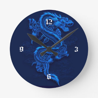 Blue Chinese Dragon Round Clock