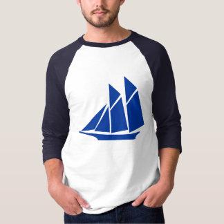 Blue Chinese Junk Style Sailing Ship Baseball T-sh T-shirt