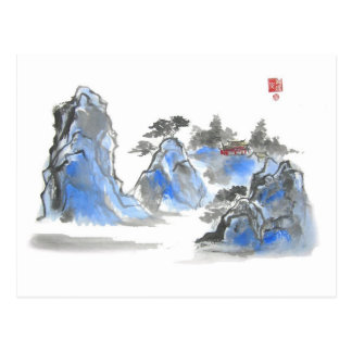 Blue Chinese Mountain Landscape Postcard