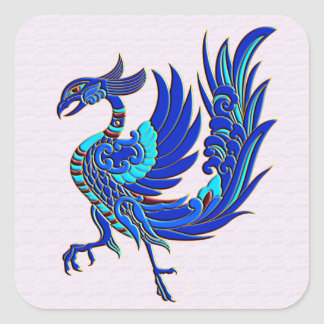 Blue chinese phoenix square sticker