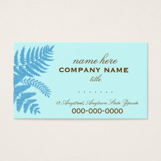 Blue & Chocolate Brown Fern Leaves Profile Card
