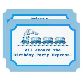 Blue Choo-Choo Train Ticket Birthday Party Card