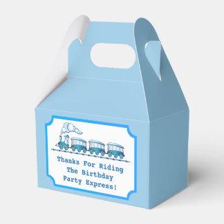 Blue Choo-Choo Train Ticket Birthday Party Favor Box