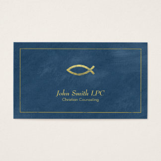 Blue Christian Counselor Ichthus Appointment Business Card