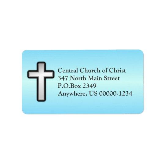 Blue Christian Cross Custom Address Label