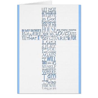 Blue Christian Cross John 14 Sympathy Thank You Card