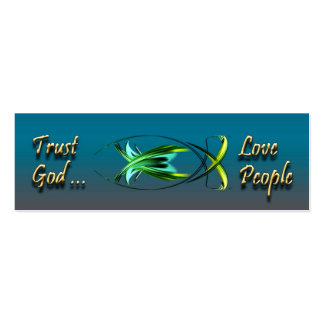 Blue Christian Fish Profile Card Double-Sided Mini Business Cards (Pack Of 20)