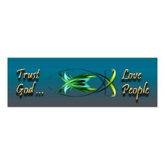 Blue Christian Fish Profile Card Business Card Template