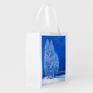 Blue Christmas # 3 Reusable Grocery Bag