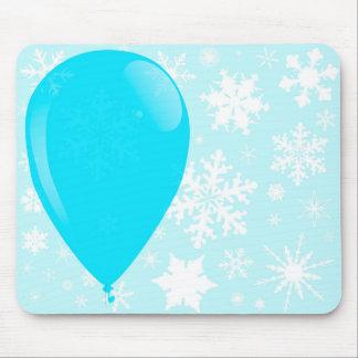 Blue Christmas Balloon Mouse Pad