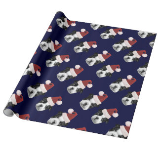 Blue Christmas Boston Terriers wrapping paper