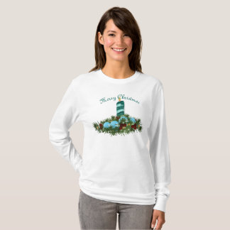 Blue Christmas Candle with Evergreens T-Shirt